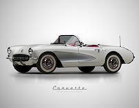 1957 Chevy Corvette Roadster - Affinity D. Vectors