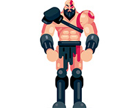 Flat Design Kratos from God of War