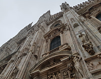 Milan Cathedral in a gray sky