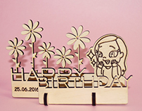 Author's wooden birthday card