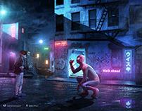 【蜘蛛侠-红灯区警示录】创意合成海报