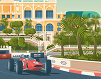 Monaco France Retro Travel Poster Illustration
