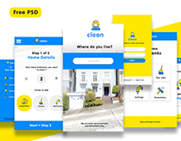 Free Cleaning App UI PSD