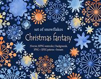 Christmas fantasy. Snowflakes set.