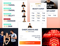 Barry's Bootcamp mobile booking design