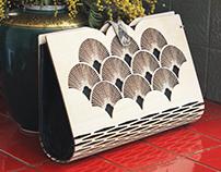 Modern wooden- silk handbag