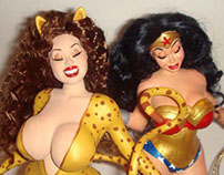 Voluptuous Wonder Woman and Cheetah Statues