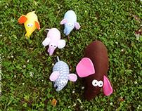 Walking elephants family.