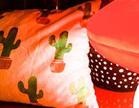 Almofada com estampa de cactus