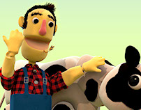 Happy farmer and cow. A product infomotion film.