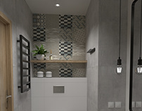 Łazienka z geometryczną płytką
