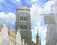 Gdansk in plein-air watercolors