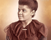 Ida B Wells Digital Oil Painting by Wayne Flint