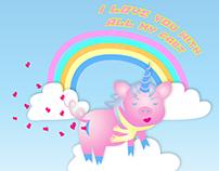 Pig Unicorn Illustration