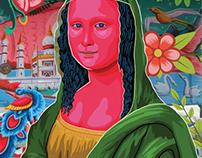 Bangladeshi Rickshaw Painting style Monalisa painting.