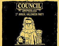 Halloween flyer for Council Brewing Co.
