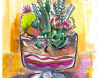 WATERCOLOR AND GOUACHE ILLUSTRATION OF CACTUS TRUFFLE
