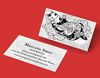 Business card concept for Imre Marczin tattoo artist