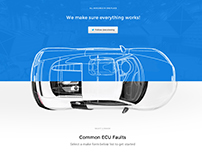 Car Parts ECUtesting website design Mockups
