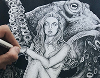"''Octopus has no Friends"" Dotwork Illustration"
