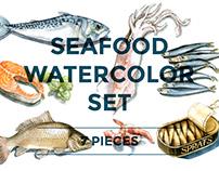 Seafood illustration set