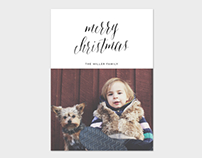 Christmas Card Template - Minimalist Watercolor Script