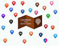 Social Media icons - Map location style