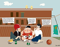 Illustration, background, Pigman story, character