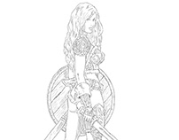 Sketch of female warriors