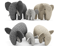Knitted Elephants Toys - 3D model