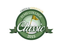Elms College Green and Gold Classic logo design
