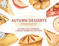 Watercolor Set of Autumn Desserts