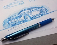 Cars Drawn In Blue