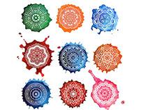 Set of watercolor mandalas. Ornamental elements