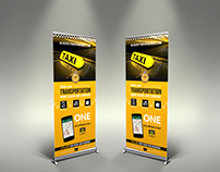 Taxi Services Signage Roll-Up Banner Template