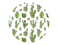 Fabric Pattern Cactus People