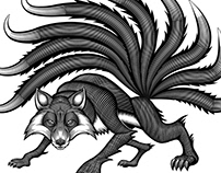 9-tailed fox illustration