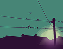 Electricity Pole Birds : Illustration