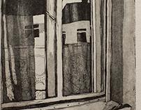 """Neighbor"" - aquatinta, etching ('Szomszéd"")"