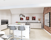 White Gloss Modern Kitchen - CGI