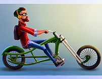 Hipster on a bike