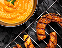 Pumpkin cream soup and grilled pumpkin.Rustic style .