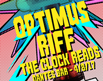 Optimus Riff & The Clock Reads Gig Poster