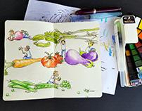 From My Moleskine Sketchbook - Vegetable Illustration