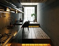 Narrow Width House-Kitchen-Toshima Japan - CGI