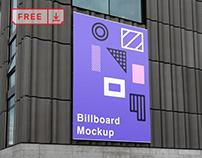 Free Billboard on Wall Mockup