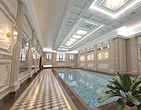 Private Swimming Pool interior in Luxury Home Spa