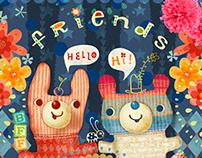 Pouch Design: Bun-Bun and Mr. Rainbow Bear are friends