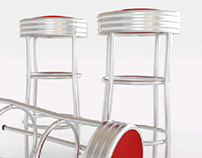 Steel bar stools with red seat area