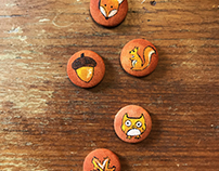 Forest Friends / painted buttons